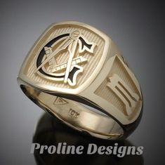 Masonic Ring in Solid Gold with Black G Style Unique Mens Rings, Mens Gold Rings, Rings For Men, Prince Hall Mason, Masonic Jewelry, Masonic Symbols, Rolex, Ring Tattoos, Jewelery