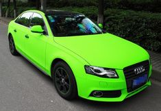 Lime Green Audi A4L - look at it too long and your eyes will bleed!