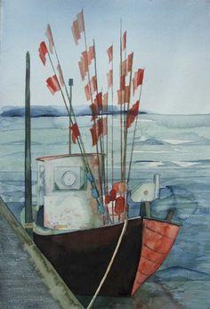 Schiffe und Boote als Aquarell | Nach dem Fang (c) Aquarell von Frank Koebsch