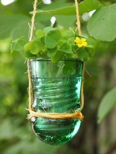 Hang It! • DIY Hanging Planters • Ideas & Tutorials! • Up-cycled old glass insulator!