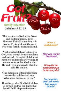 Fruit of the Spirit Faithfulness printable devotion.  Great for Sunday school. small group, or family devotion time.