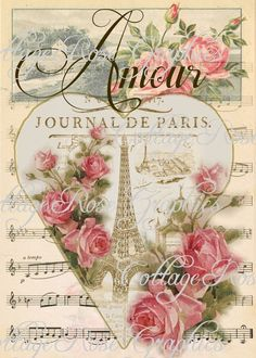 Paris Amour vintage Valentine Large digital by CottageRoseGraphics, $3.75