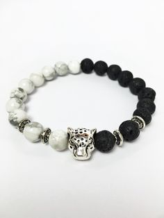 Onyx Jewellery – Tibetan Leopard Head Yoga Bracelet//Free Shipping – a unique product by lovingmemento on DaWanda