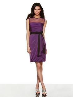 919f2b84c9c V Neck Short Wedding Guest Dress. See more. Val Stefani Style VS9297 Two  tone chiffon short sheath w black faille ribbon sash only