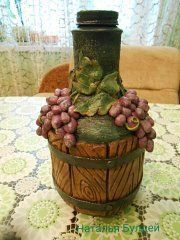 Kennia Chacon Wine Bottle Crafts, Bottle Art, Clay Cup, Altered Bottles, Decorative Tile, Cute Crafts, Gourds, Glass Bottles, Decoupage