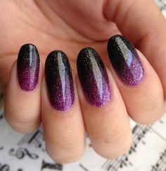 Few things are better than ombre and glitter, especially when it comes to nails! We've rounded up 40 of the most stylish ombre glitter nail designs. Black And Purple Nails, Purple Manicure, Purple Glitter Nails, Purple Nail Art, Purple Nail Designs, Nail Art Designs, Nails Design, Purple Sparkle, Sparkle Nails