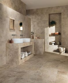 Aix - Antique Stone Look Porcelain Tiles - Atlas Concorde 3d Tiles, Wall Tiles, Deco Boheme Chic, Washroom Design, Stone Bathroom, Aalborg, White Bodies, Bathroom Styling, Bathroom Inspiration