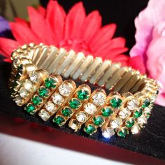 Vintage Green and Clear Stretch Rhinestone Bracelet Set in Goldtone Metal. Free Ship to US.  via USPS First Class Mail. www.CCCsVintageJewelry.com Have a Fabulous Day! Best, Coco