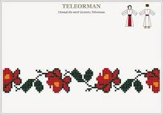 ie teleorman - Buscar con Google Cross Stitch Borders, Cross Stitch Flowers, Cross Stitching, Cross Stitch Patterns, Folk Embroidery, Cross Stitch Embroidery, Embroidery Patterns, Loom Beading, Beading Patterns