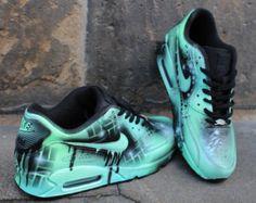 Nike Air Max 90 azul Galaxy estilo pintado por DacCrewAirbrush Zapatos  Deportivos 64443c60b0ede