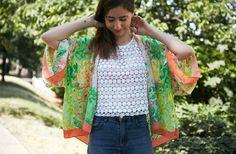 Réalise un kimono à partir d'un foulard pour cet été en quelques coups de ciseaux et d'aiguille !