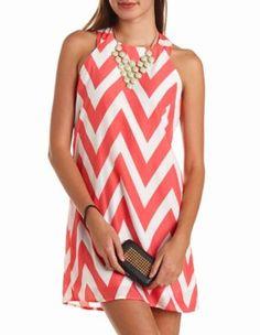 zip-back chevron shift dress