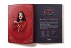 'A Streetcar named Desire' page design of Black Swan State Theatre Company program booklet season 2014. Design by Dessein, Australia.