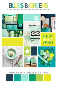Mood Board Monday – Edition, blues and greens inspired color palette. Beautiful color combination