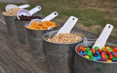 Sweet and Salty Trail Mix bar Retirement Parties, Grad Parties, 1st Birthday Parties, Themed Parties, 10th Birthday, Birthday Ideas, Camping Party Decorations, Camping Parties, Camping Party Foods