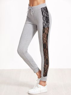 To find out about the Heather Grey Contrast Lace Panel Skinny Sweatpants at SHEIN, part of our latest Pants ready to shop online today! Girls Joggers, Denim Joggers, Sweatpants, Designer Leggings, Dance Outfits, Cute Outfits, Grey Sports Leggings, Warm Pants, Skinny