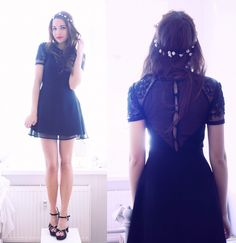 Found on Wheretoget  Black sheer lace dress with a button back