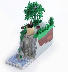 Over the Falls, Revamped! by Lego Junkie., via Flickr Awesome Lego, Cool Lego, Lego Projects, Projects To Try, Lego Village, Brick Art, Special Friends, Lego Architecture, Lego Moc