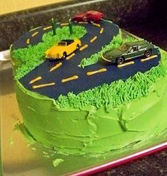 Car Birthday Cake--We'd travel this road any day of the year!
