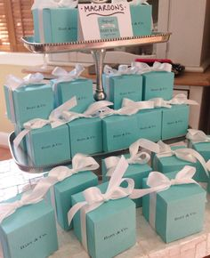 Our Personalized Cube Favor Boxes make the perfect addition to any Tiffany inspired event. We laser print your personalization info {Name & Co.} on high quality tiffany blue cardstock and handcut each Tiffany Blue Party, Tiffany Birthday Party, Tiffany Theme, Tiffany Box, Tiffany Wedding, Tiffany And Co, 50th Birthday, Tiffany Co Party Ideas, Tiffany Blue Decorations