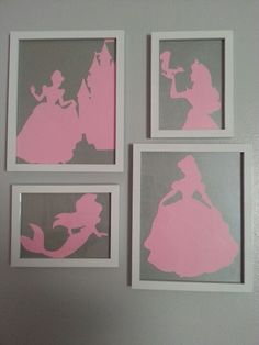 My beautiful pink and grey silhouettes that my husband cut out for the baby's room.