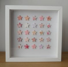Pretty personalised Christening picture, made from 25 triple layered star shapes, with a pink colour scheme  We can add the name, date and type of