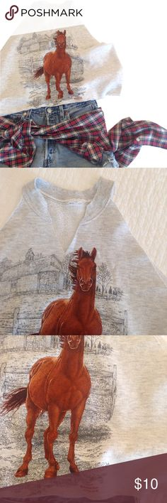 """Grunge horse tank. Cutoff sweatshirt crop top. Oversized bohemian horse crop top. Should accommodate size small-large. It's about 18"""" long from top of shoulder. This is a vintage sweatshirt with a graphic of a horse on the front. The sleeves and bottom hem have been cut off and left unfinished. Well loved - grunge! Tops Crop Tops"""