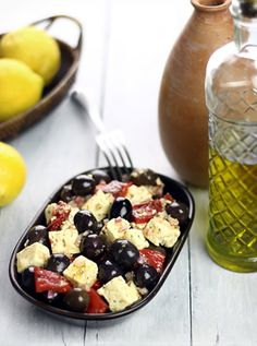 Marinated feta, kalamata olives & roasted red pepper, I always want to take a huge container of these home from the grocery store LOL Marinated Cheese, Marinated Olives, Greek Appetizers, Appetizer Recipes, Cheese Recipes, Olive Recipes, Greek Recipes, Kalamata Olives, Roasted Red Peppers