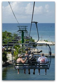 Chair Lift at Mahogany Bay, Roatan Island, Honduras...such a great view from here!  we watched the fish play in the water, it was so clear!   :)