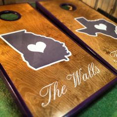 Pick Your State Real Birch Stained Custom Personalized Cornhole Board Sets