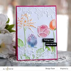 Floral Texture, Altenew Cards, Scrapbook Pages, Scrapbook Layouts, Scrapbooking, Embossing Folder, Three Dimensional, Floral Lace, Your Cards