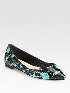 Loeffler Randall Lou Snakeskin Point-Toe Flats--colored snake