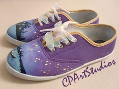 Hand Painted Original Size 8 Canvas Shoes Tangled by CPArtStudio