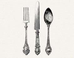 Antique Silverware - Knife, Fork, Spoon Cutlery- Vintage Digital ClipArt Printable PNG
