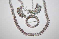Vintage Blue AB Rhinestone Necklace Set 1970s Jewelry by patwatty, $38.00