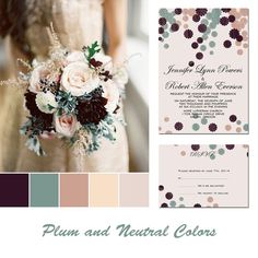 plum nude wedding color ideas and same color palettes wedding invitations with rsvp cards