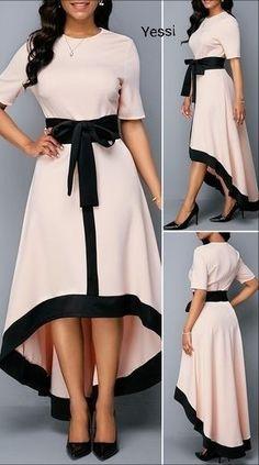 Zipper Back Belted High Low Dress Source by Bemicana dresses summer Stylish Dress Designs, Stylish Dresses, Elegant Dresses, Pretty Dresses, Casual Dresses, Romantic Dresses, Sexy Dresses, Summer Dresses, Formal Dresses