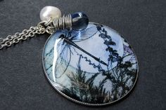 Dragonfly Necklace Blue Dragonfly Pendant with by TheTeardropShop, $28.00
