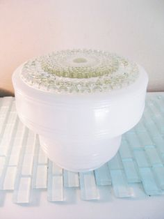 Art Deco Hobnail Ceiling Light Fixture Frosted and Clear BIG