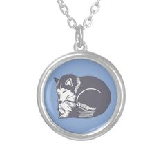 Sleeping Husky Blue Necklace; Abigail Davidson Art; ArtisanAbigail at Zazzle