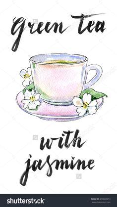 Cup of green tea with jasmine flowers, hand drawn - watercolor Illustration-食品及饮料,物体-海洛创意(HelloRF)-Shutterstock中国独家合作伙伴-正版素材在线交易平台-站酷旗下品牌