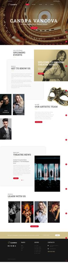 Classico is a fully responsive theater WordPress theme with a truly elegant and gorgeous design! Capture the audience with your website by adding all the details about your artistic team, the latest theater news, upcoming events, and more! Feel free to enrich your site with a stunning portfolio from your performances thanks to a powerful TM Gallery and choose from multiple blog layouts and versatile header & footer styles to spice up the look of your theatre website. Blog Layout, Upcoming Events, Header, Spice Things Up, Wordpress Theme, Layouts, Website, Elegant, News