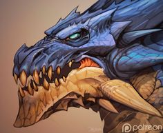 Dragon-head by el-grimlock blue dragon ice cold frost monster beast creature animal | Create your own roleplaying game material w/ RPG Bard: www.rpgbard.com | Writing inspiration for Dungeons and Dragons DND D&D Pathfinder PFRPG Warhammer 40k Star Wars Shadowrun Call of Cthulhu Lord of the Rings LoTR + d20 fantasy science fiction scifi horror design | Not Trusty Sword art: click artwork for source