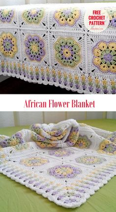 """African Granny Crochet Blanket [Free Pattern] - Next for today blanket with flower motif will be fascinating new project on you crochet to-do list. Squares are quite easy to make with the stitch used for the border is called by author - """"Granny Spike Stitch"""". #crochet #freepattern"""