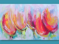 Large Original Abstract  Painting Tulips Pink by lanasfineart, $355.00