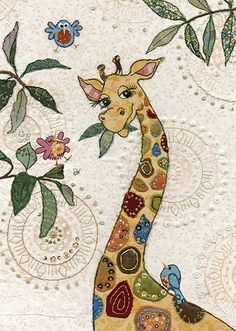 Giraffe greeting card by Bug Art Applique Patterns, Applique Quilts, Quilt Patterns, Giraffe Painting, Giraffe Art, Quilt Baby, Afrique Art, Art Carte, Bug Art