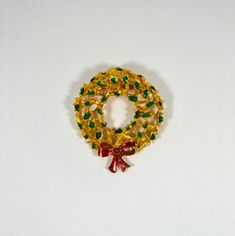 1950s Christmas Wreath Brooch by KrisVintageClothing on Etsy #GotVintage  #Vintage  #Jewelry