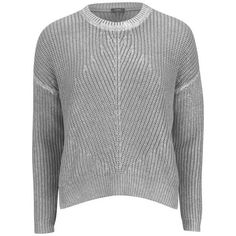 Joseph Women's Foiled Pearl Stitch Knitwear - Cloudy ($220) ❤ liked on Polyvore featuring tops, sweaters, cloudy, stitch sweater, long sleeve jumper, long sleeve tops, long sleeve crew neck sweater and joseph sweaters