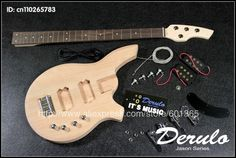 DIY Electric Bass Guitar Kit  Bolt-On  Solid Mahogany Body Canadian maple neck MX-036