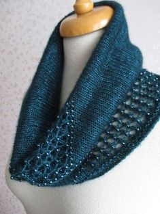 Free Knitting Pattern for Intermezzo Cowl - Stunning beaded lace cowl with three options for the lace. Designed by Rahymah